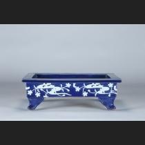 尾張焼 瑠璃釉撫子水紋貼花外縁長方水盤
