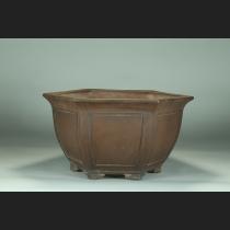 紫泥外縁額面六角鉢