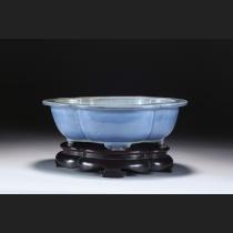 古渡年窯外縁木瓜式樹盆(中国清朝・雍正年製)
