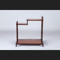 本郷昇作・紫檀竹型彫舞葡萄板違棚