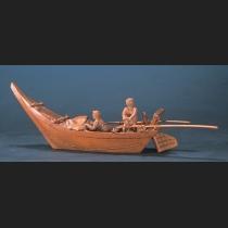 木彫 漁船 黄楊木材 箱付