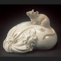 京焼色絵 宝袋に鼠