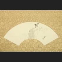 「岩上に双鷺」 橋本雅邦筆