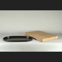 鋳銅卍透し楕円水盤